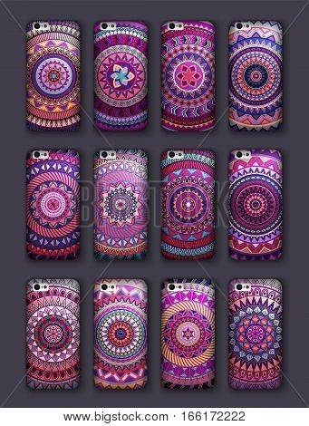 Phone Cover Collection, Boho Style Pattern. Vector Background. Vintage Decorative Elements. Hand Dra