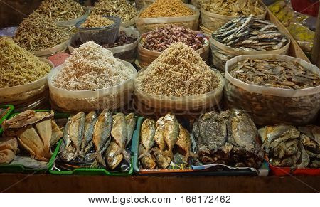 Various kind of salted fish and anchovy photo taken in Jakarta Indonesia java