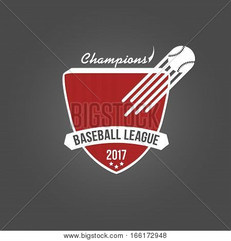 Baseball badge, league logo or template for championship, sport team and others. Vector illustration isolated on dark background