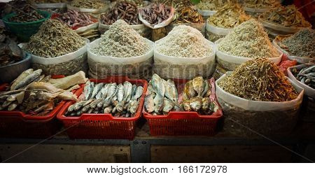 Salted fish and anchovy at traditional market in Jakarta Indonesia java
