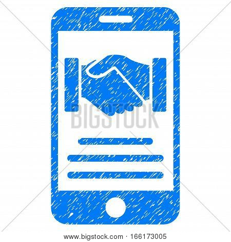 Mobile Agreement Handshake grainy textured icon for overlay watermark stamps. Flat symbol with dirty texture. Dotted vector blue ink rubber seal stamp with grunge design on a white background.