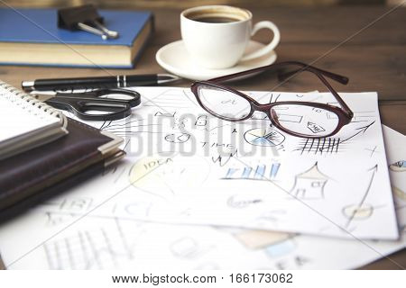 Business charts and graphs close up table