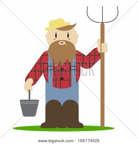 illustration of cute farmer guy with prong
