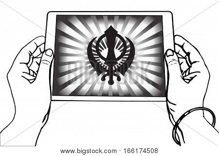Hands holding a tablet on which the Khanda is the symbol of Sikhism. Black-and-white gradient rays, a transparent background.