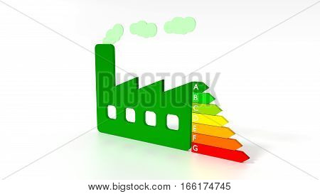 Green factory next to an energy efficiency graph save electricity concept 3D illustration