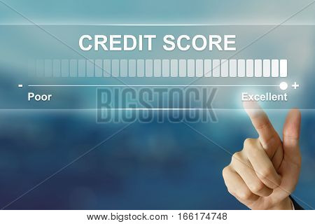 business hand pushing excellent credit score on virtual screen interface