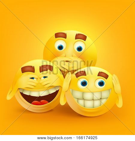 Set of three yellow smiley faces concept card. Vector illustration