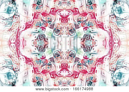 Abstract Intricate Symmetrical Ornament In Blue, Grey And Crimson Colors. Seamless Fractal Texture.