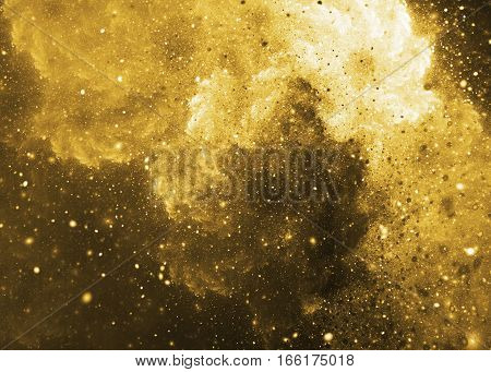 Abstract Yellow Sparkles On Dark Background. Fractal Art. 3D Rendering.