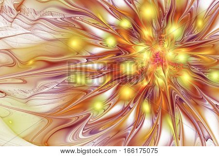 Abstract Exotic Flower With Glossy Petals. Fantasy Fractal Design In Golden And Brown Colors. Psyche