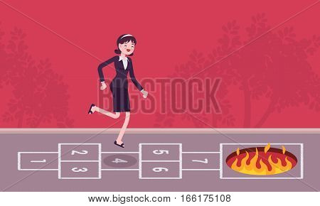Young carefree businessman playing hopscotch, jumping unaware of danger in front of her, having no business instinct or business plan , making fatal step, bad business vision