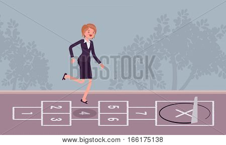 Young carefree businesswoman playing hopscotch, jumping unaware of danger in front of her, regard business like child's play, staing unfocused, meeting unpredicted problem, unfair competition