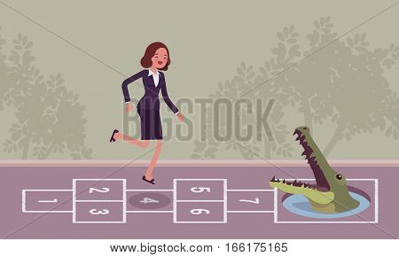 Young carefree businesswoman playing hopscotch, jumping unaware of danger in front of her, unable to escape the problem awaiting, unrealistic with goals, soon breaking down, company merger or takeover