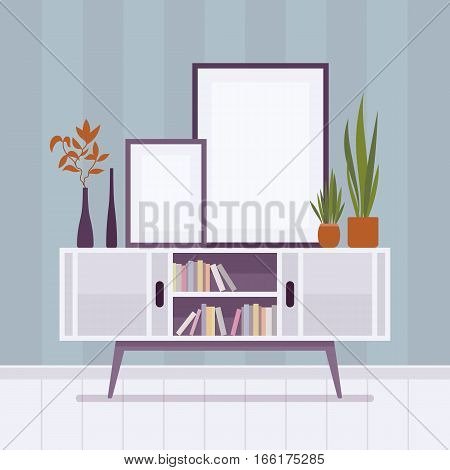 Retro interior original mid-century modern bookcase, potted plants, record console, with two doors, two frames for copyspace and mock up. Cartoon flat-style interior illustration