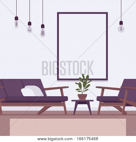 Loft interior, light modern eclectic deco vintage with bulb lamp, sofa and armchair, wall frame for copyspace and mock up. Cartoon flat-style interior illustration