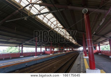Empty station with many platforms photo taken in Jakarta Indonesia java
