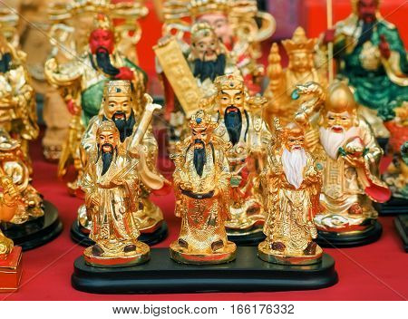 Golden Sculpture of Three Chinese Gods Fu Lu Shou. (Hock Lok Siew), The Gods of Lucky and Good Fortune  and Longevity for Decoration, Chinese God