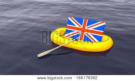 British flag swimming in a yellow rubber boat alone on the ocean save england brexit concept 3D illustration