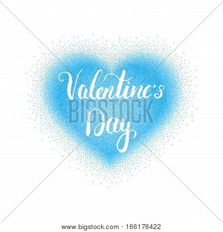 Valentines Day vector illustration with stipple heart and lettering