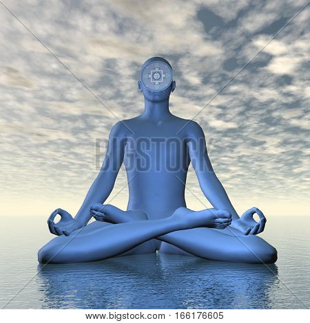 Silhouette of a man meditating with deep blue ajna or third-eye chakra symbol upon ocean in cloudy background - 3D render