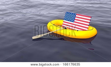 American flag swimming in a yellow rubber boat alone on the ocean save USA concept 3D illustration