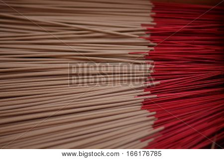 Red Incense sticks for worship buddha of asia.