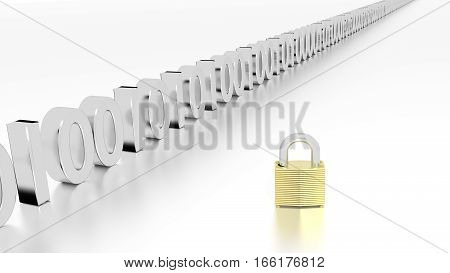 Golden padlock next to a row of zero and one datastream cybersecurity concept 3D illustration