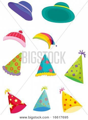 an illustration of assorted hats for different occasions