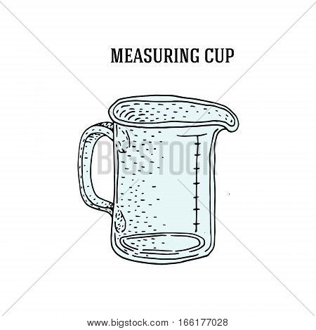 measuring cup to measure dry and liquid food. Vector illustration.