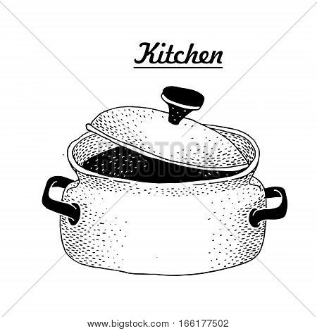 Hot pan isolated, saucepan, pan icon, cooking. Vector hand drawn illustration