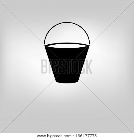 vector illustration of icon a bucket for washing on a gray background