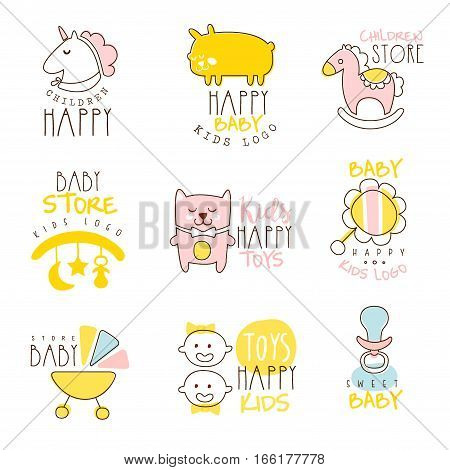 Kids Shop Promo Signs Set Of Colorful Vector Design Templates With Outlined Childish Toy Silhouettes. Baby Toys And Product Store Labels In Flat Bright Illustrations With Text.
