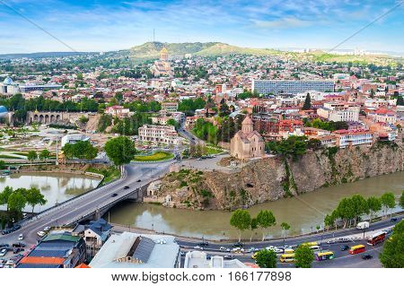 Tbilisi city panorama. Old city, new Summer Rike park, river Kura, the European Square and the Bridge of Peace