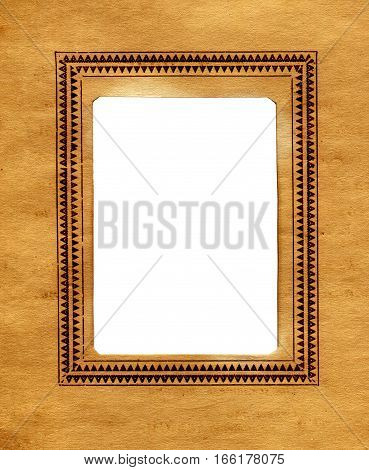 Vintage Paper With a Frame for Photography. Isolated On The White Background