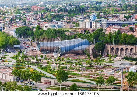Tbilisi, Georgia - May 5, 2014: Panoramic view Of Concert Music Theatre Exhibition Hall In Summer Rike Park Tbilisi, Georgia. Beautiful new park in the city center.