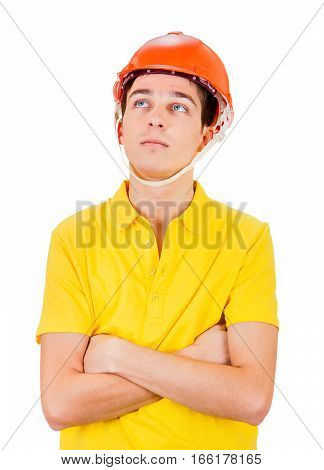 Pensive Young Man in Hard Hat Isolated on the White Background