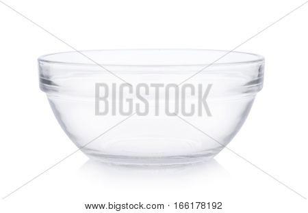 Closeup Empty bowl on white background. glass