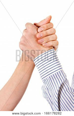 Handshake closeup Isolated on the White Background