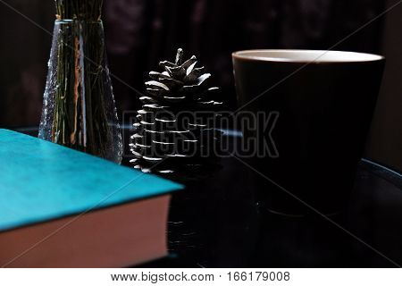 abstract still life book Cup pine cone on the table