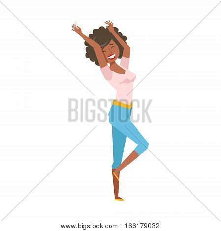 Woman In Tight Leggings Dancing, Part Of Funny Drunk People Having Fun At The Party Series. Simple Flat Cartoon Character Smiling And Having Good Time Vector Illustration.