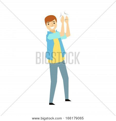 Guy Clapping His HandsPart Of Funny Drunk People Having Fun At The Party Series. Simple Flat Cartoon Character Smiling And Having Good Time Vector Illustration.
