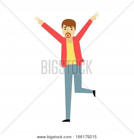 Manager Man Wth Goatee Dancing, Part Of Funny Drunk People Having Fun At The Party Series. Simple Flat Cartoon Character Smiling And Having Good Time Vector Illustration.