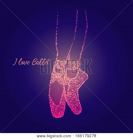 A pair of well-worn ballet shoes and text I love you jewel, shiny, vector illustration
