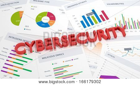 The word cubersecurity in red on a table with charts and attack statistics information security concept 3D illustration