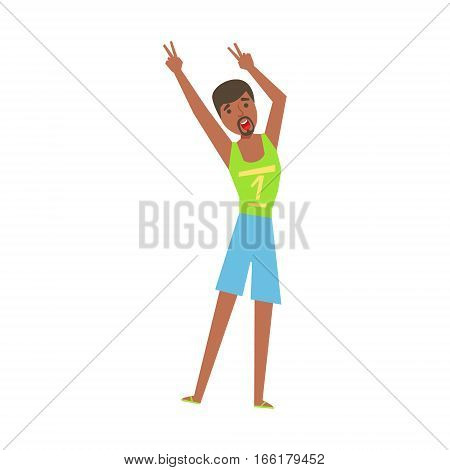 Guy With Goatee In Flip-Flops Dancing, Part Of Funny Drunk People Having Fun At The Party Series. Simple Flat Cartoon Character Smiling And Having Good Time Vector Illustration.