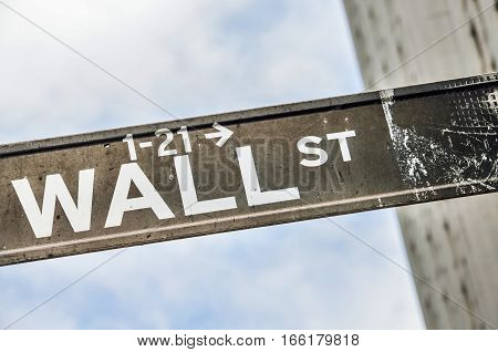 Wall street sign with sky and building in New York City