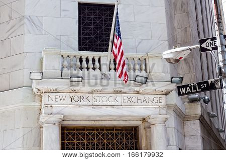 New York, USA - June 18, 2016: New York Stock Exchange with American flags and Wall street sign