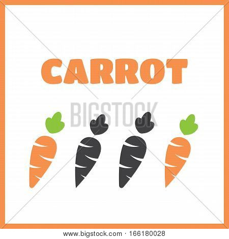 Carrot vector icon cartoon style isolated on white background. Carrot isolated black and color icons