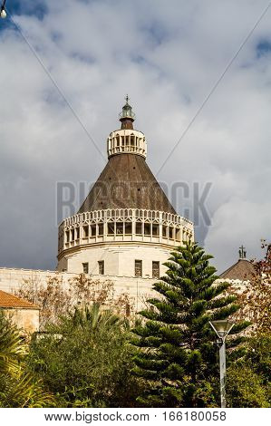 Dome of the Basilica of the Annunciation or Church of the Annunciation in Nazareth Israel