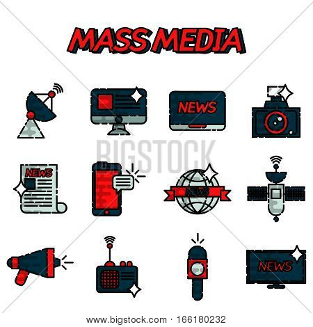 Mass media flat creative concept illustration, laptop, personal computer, journalist, microphone, rss, signal, for posters and banners